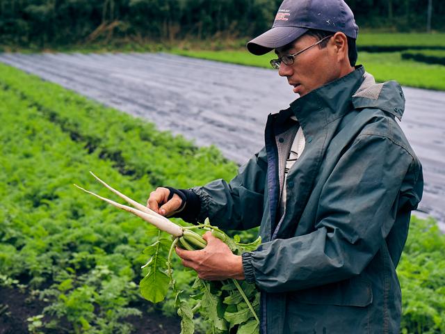 何カ所にも分散する湧水農場を回る生産部長