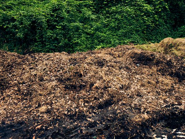 積み上げられた自慢の草堆肥